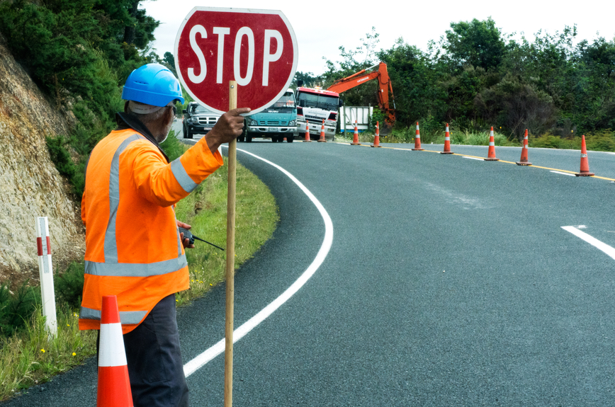 Road-work-stop-sign