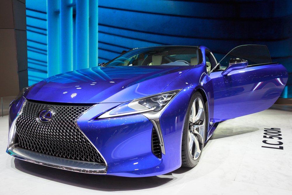 New 2018 Lexus LC 500h presented at the 85th International Geneva Motor Show in Palexpo, Geneva.