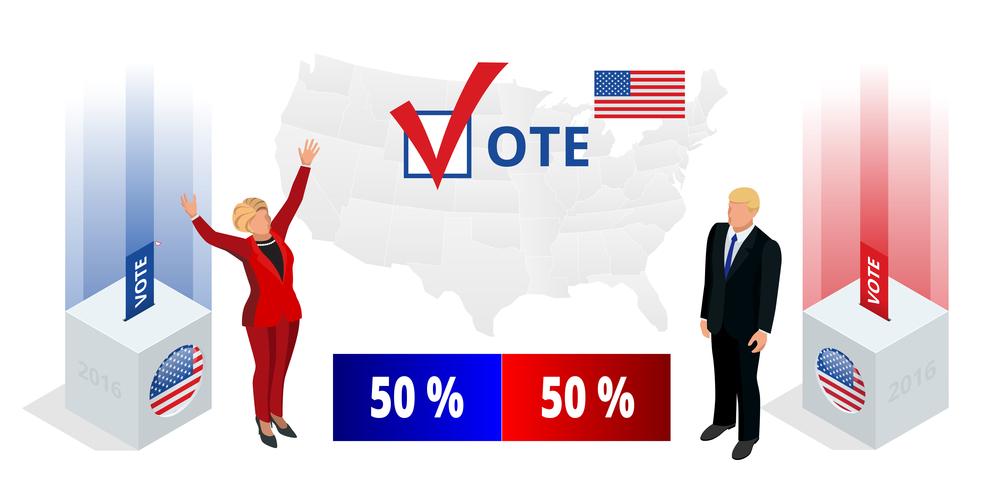 Us Election 2016 infographic Democrat Republican convention hall ...