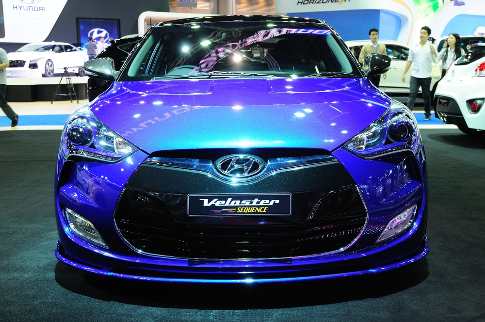 Modified Hyundai Veloster on display at The 30th Thailand International Motor Expo on November 28, 2013 in Nonthaburi, Thailand.