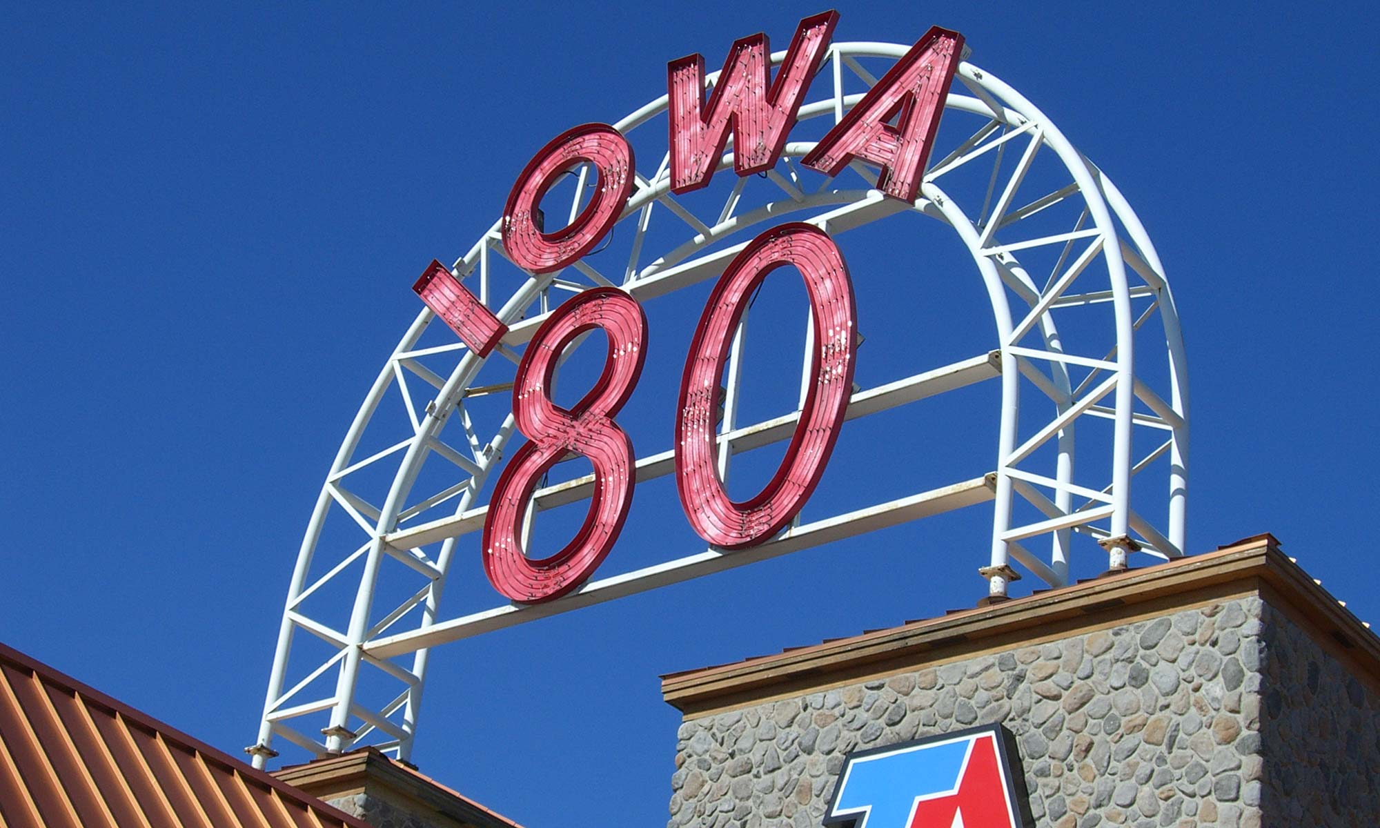 An image of the Iowa 80 truck stop sign.