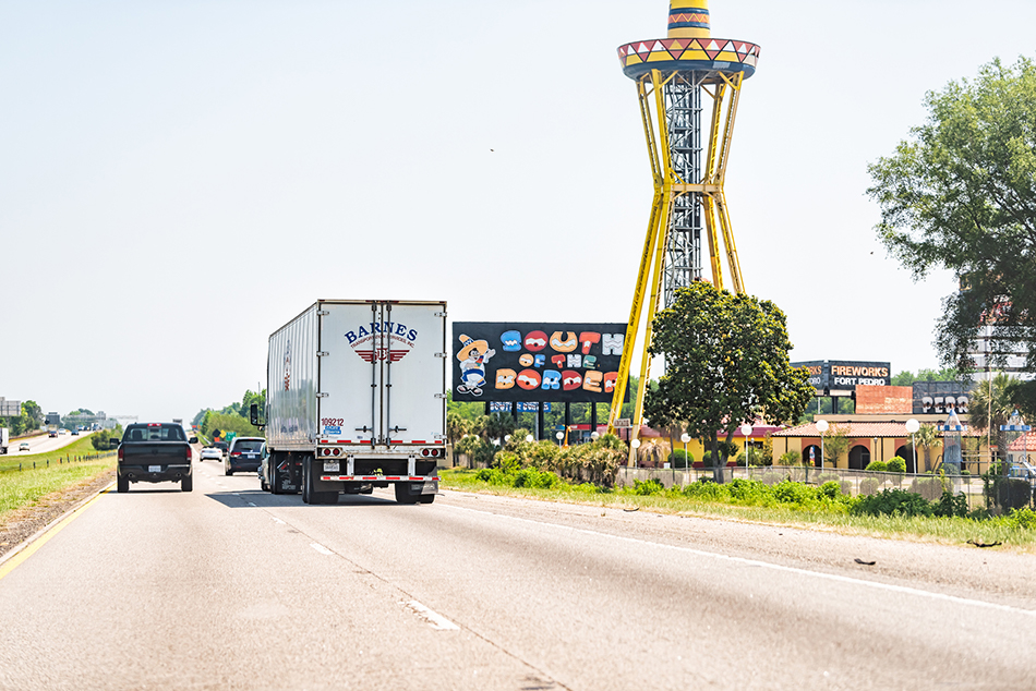 An image of the South of the Border truck stop sign in Dillon, South Carolina.