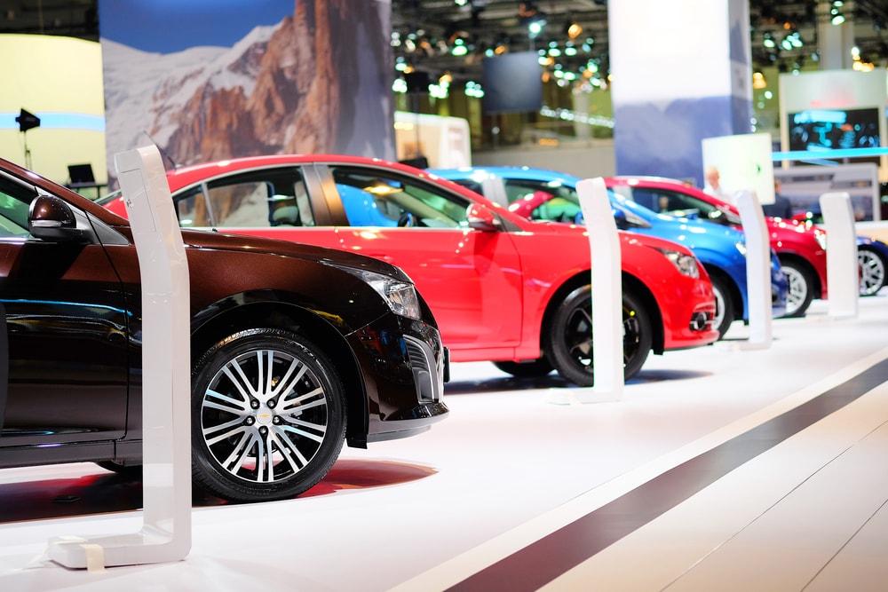 cars on a showroom floor