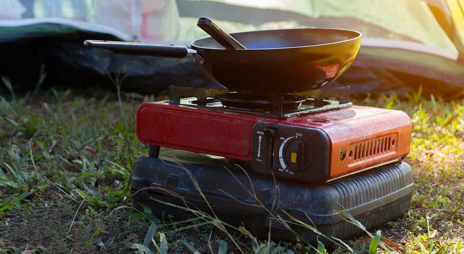 A portable camping stove.