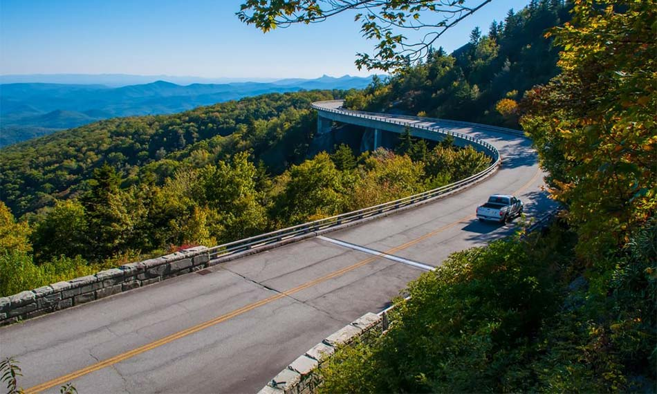 Part of the Blue Ridge Parkway road.
