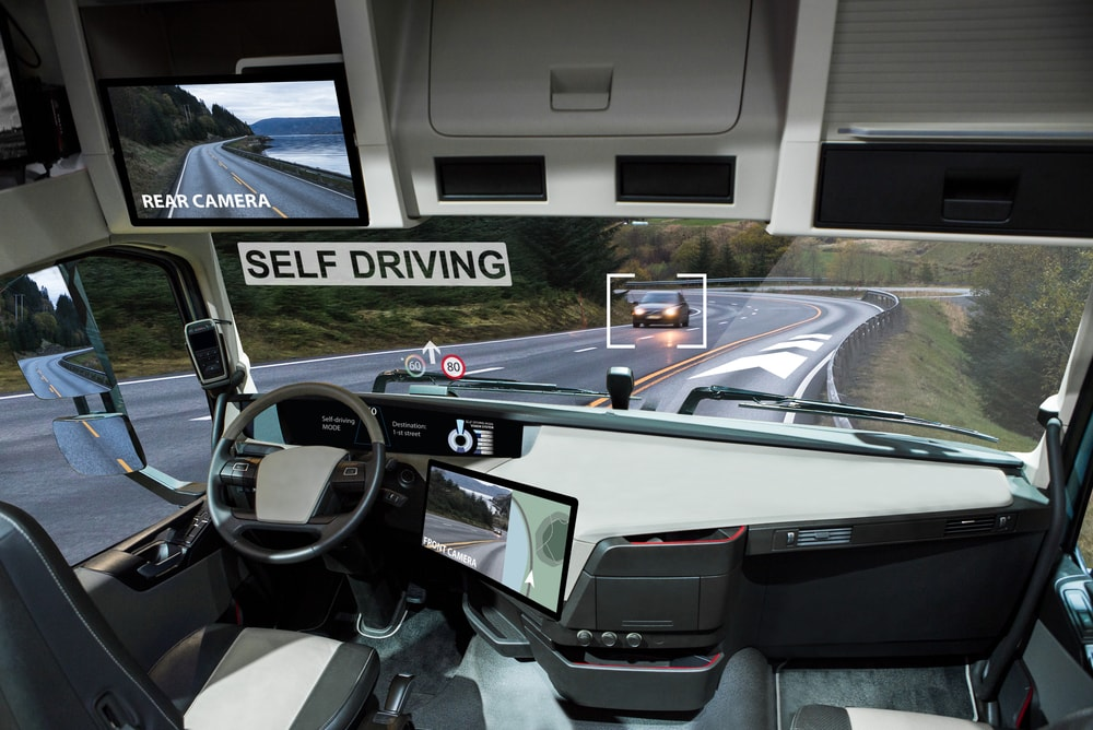 self driving truck on the road