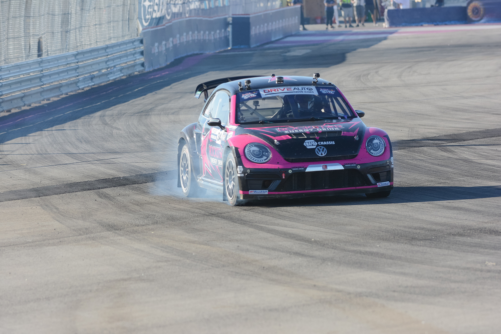 Tanner Foust 34, drives a Volkswagen Beetle car, during the Red Bull Global Rallycross Championship Port of Los Angeles