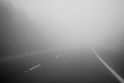 foggy weather on the road