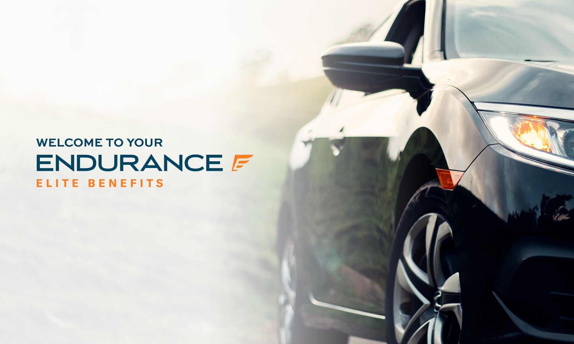 Elite benefits offered by Endurance, showing a black sedan car