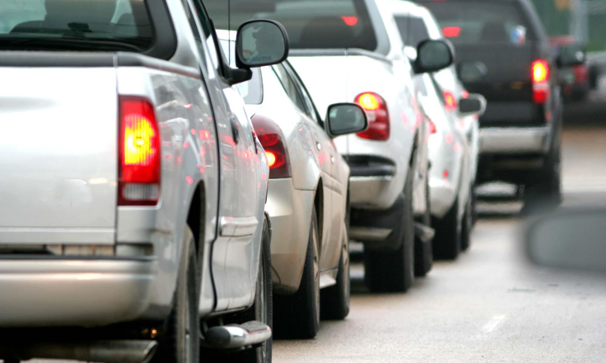 A line of cars in bumper-to-bumper traffic