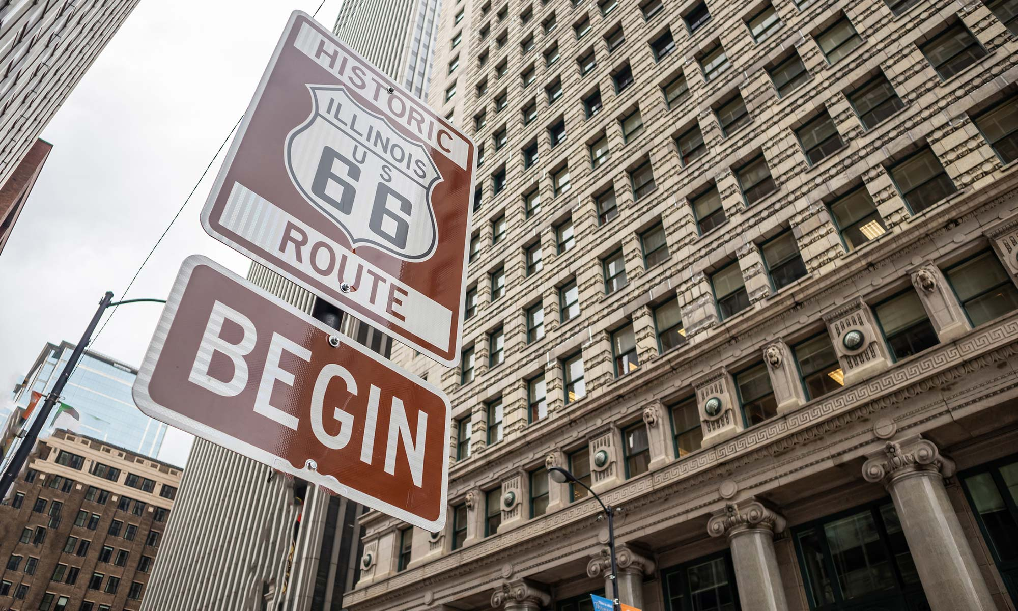 A sign signifying the start of the historic Route 66 in downtown Chicago, Illinois.