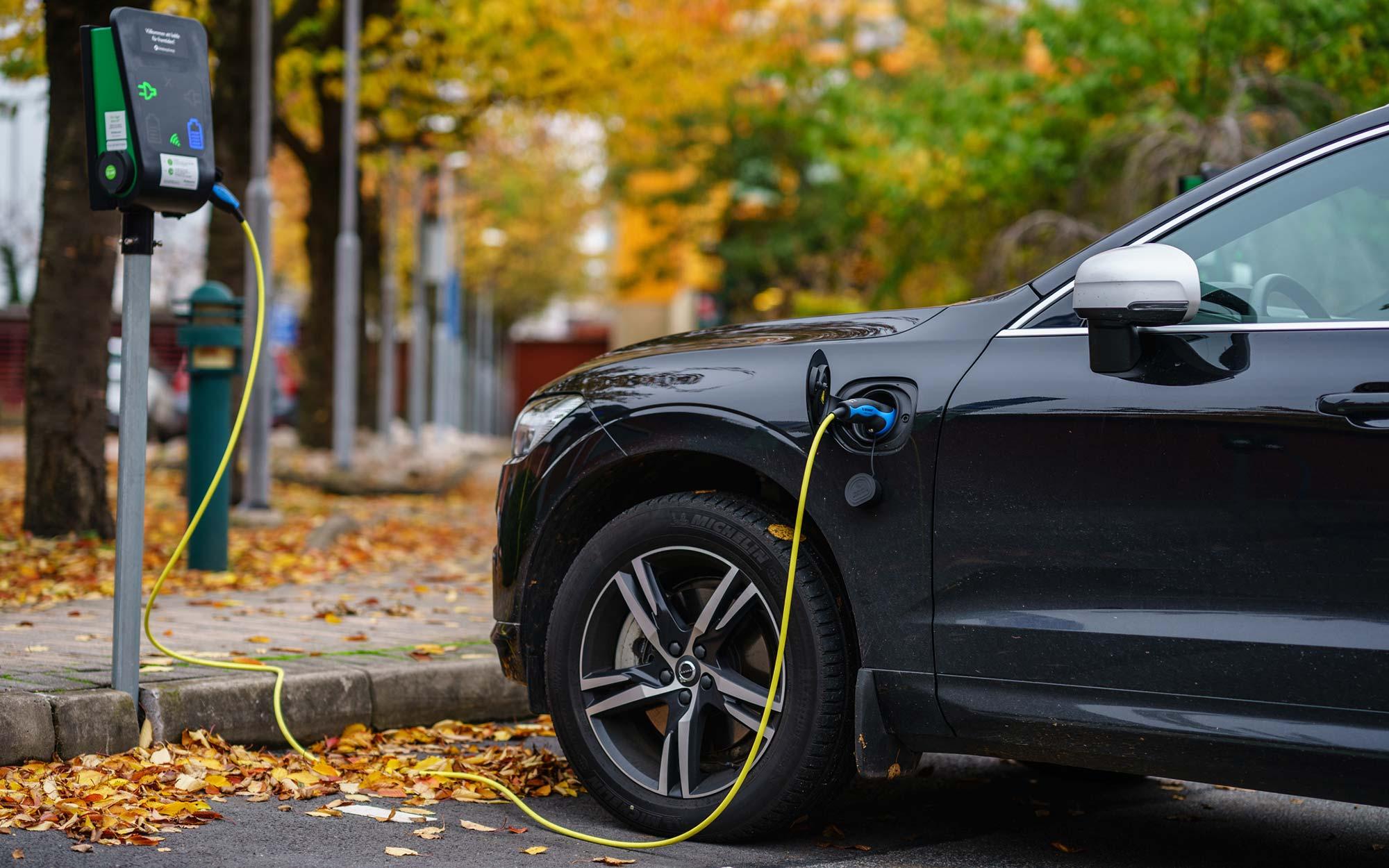 A hybrid vehicle charging.