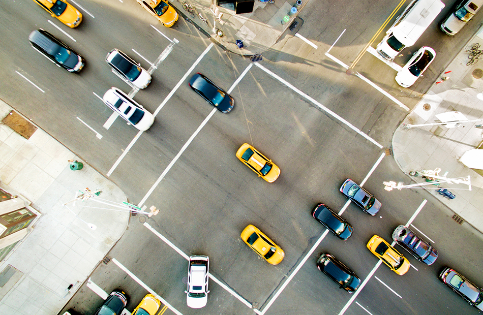 Aerial view of traffic.