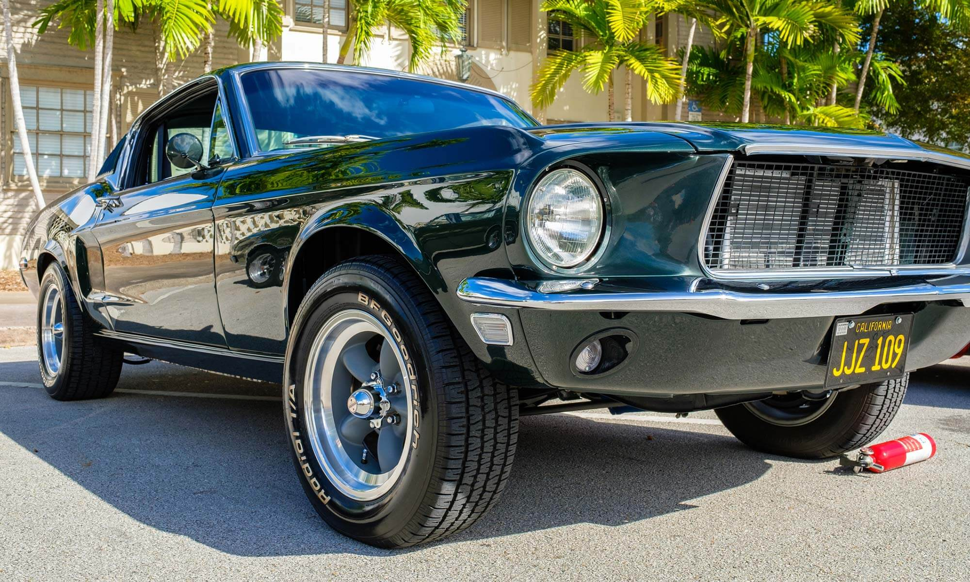 A close-up image of a vintage Ford Mustang.