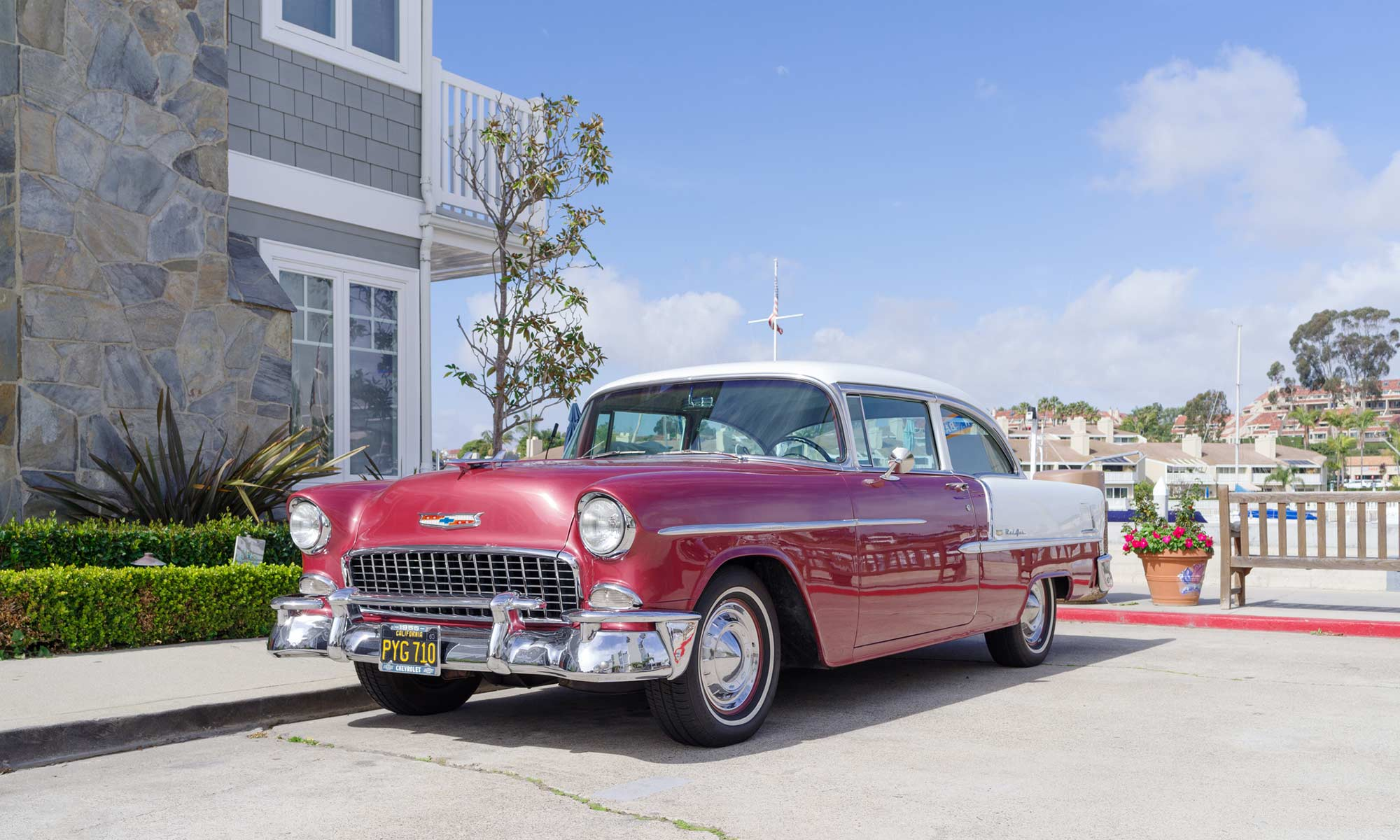 A red 1955 Chevy Bel Air.