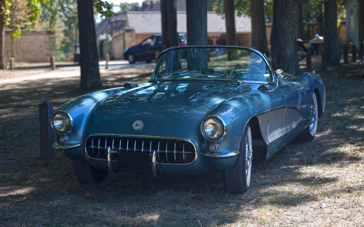 A blue 1956 Chevrolet Corvette
