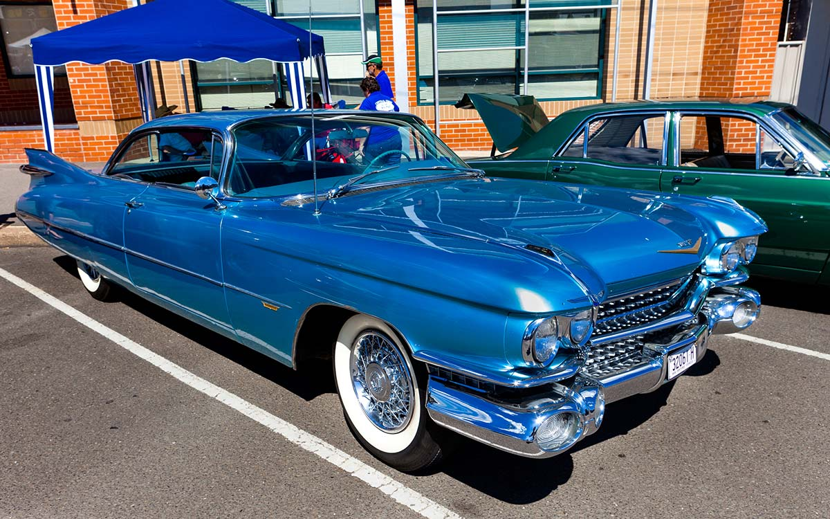 A 1959 Cadillac Coupe de Ville.